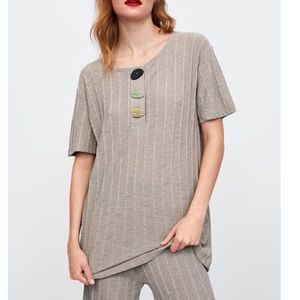 Zara Ribbed T-Shirt With Buttons